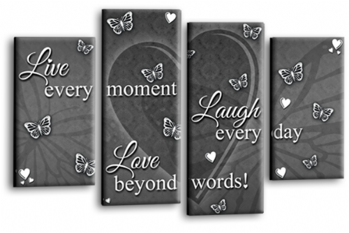 Live Laugh Love Quote Powder Grey and White Canvas Wall Art